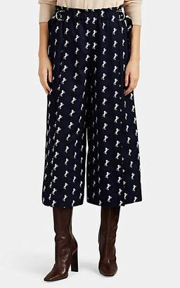 Chloé Women's Horse-Embroidered Wool Wide-Leg Trousers - Navy