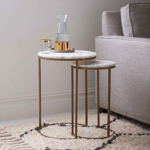 Marble Round Nesting Side Table (Set of 2)