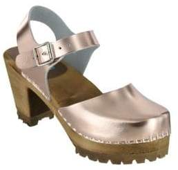 Mia Abba Leather Ankle-Strap Clogs