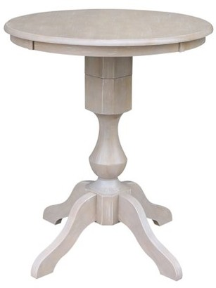 "INC International Concepts Solid Wood 30"" x 30"" Round Pedestal Dining Table in Washed Gray Taupe"