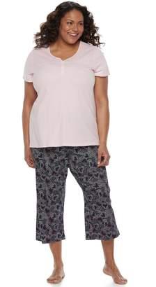 Croft & Barrow Plus Size Eyelet Trim Capri Pajama Set