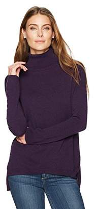 Lark & Ro Women's 100% Cashmere 12-Gauge Slouchy Turtleneck Pullover Sweater