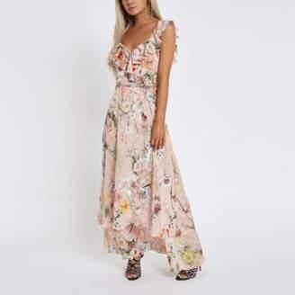 River Island Womens Petite pink floral frill wrap maxi dress