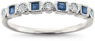 MODERN BRIDE Modern Bride Gemstone Womens 2.5mm 1/4 CT. T.W. Blue Sapphire 14K White Gold Wedding Band