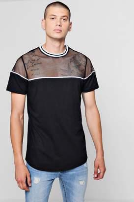 boohoo Longline Mesh Panel Contrast T-Shirt