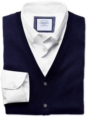 Navy Merino Wool Waistcoat Size Large