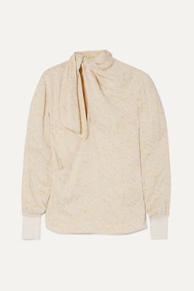 Chloé Tie-neck Floral-jacquard Blouse - Cream