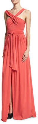 Halston Sleeveless Knotted Jersey Cross-Front Gown