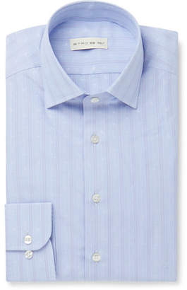 Light-Blue Slim-Fit Paisley-Embroidered Striped Cotton-Poplin Shirt