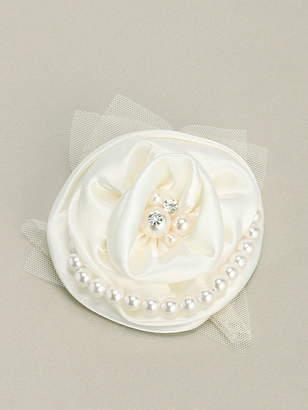 Cream チュール×サテンパール付Roseコサージュ クリーム アクセサリー