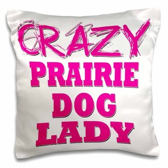 3dRose Crazy Prairie Dog Lady, Pillow Case, 16 by 16-inch