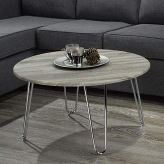 Worldwide Homefurnishings Faux Driftwood/Chrome Coffee Table