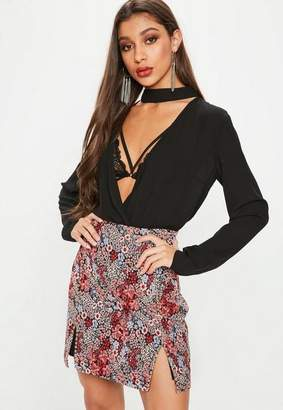 Missguided Red Jacquard Floral Stud Detail Mini Skirt