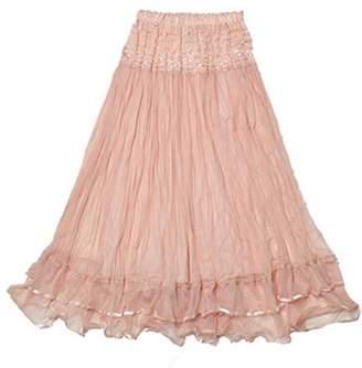 GlowSol Womens Boho Lace Gauze Double Layer Elastic Waist Maxi Skirt - Pink