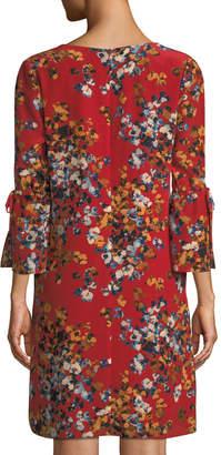 Lafayette 148 New York Deandra Floral V-Neck Sleek Tech Cloth Dress, Red