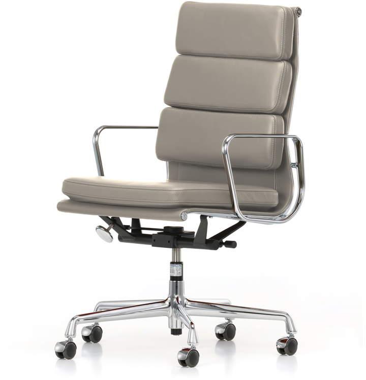 EA 219 Soft Pad Bürostuhl Chrom mit Armlehnen, Leder Premium ton (Hartbodenrollen)