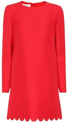 Valentino Scalloped silk and wool minidress