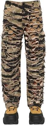 Vetements Military-Net Cutout Camo Canvas Pants