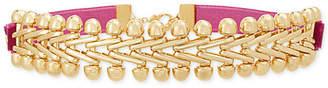 """Steve Madden Gold-Tone Velvet Laced V Link Choker Necklace, 12"""" + 4"""" extender"""