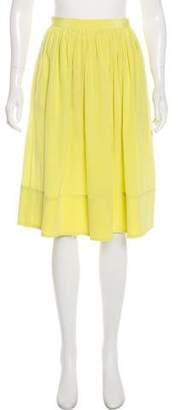 Elizabeth and James Silk Pleated Knee-Length Skirt