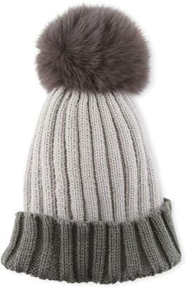 Adrienne Landau Colorblock Ribbed Beanie Hat with Fox Fur Pompom, Gray