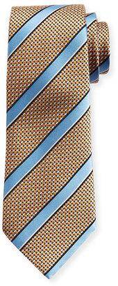 Ermenegildo Zegna Satin-Stripe Basketweave Silk Tie, Orange $195 thestylecure.com