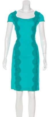 Blumarine Knee-Length Lace-Trimmed Dress Turquoise Knee-Length Lace-Trimmed Dress