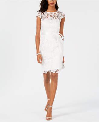 8f5b1472d94 Adrianna Papell Lace Cap-Sleeve Illusion Sheath Dress