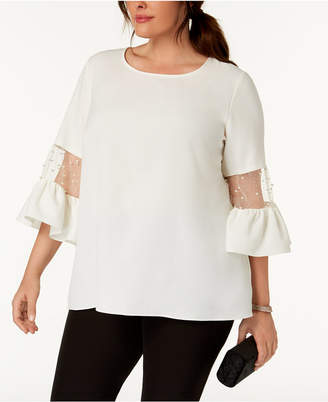 MSK Plus Size Faux-Pearl-Embellished Bell-Sleeve Top