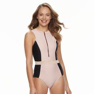 N. Women's Zip Front Tummy Slimmer One-Piece Swimsuit