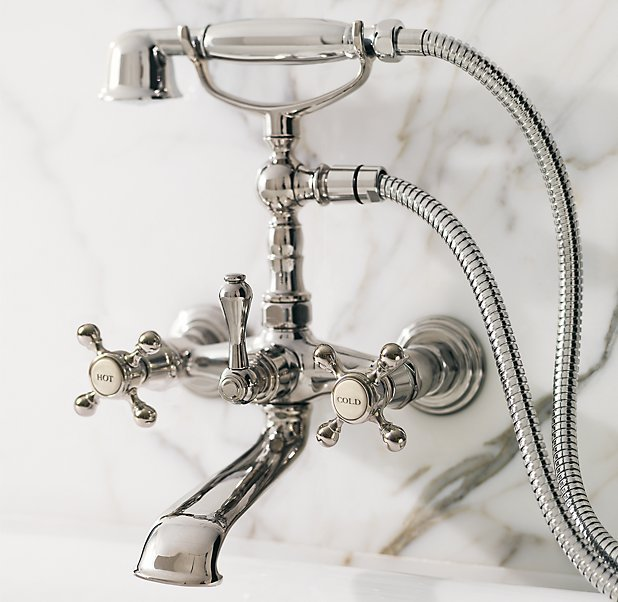 Restoration Hardware Wall-Mount Exposed Tub Fill and Handheld Shower Set