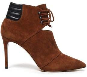 Casadei Leather-Trimmed Suede Ankle Boots
