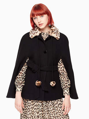 Kate Spade Leopard-print collar belted cape