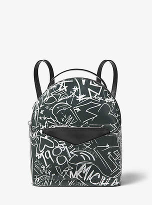 Michael Kors Jessa Small Logo Graffiti Leather Convertible Backpack