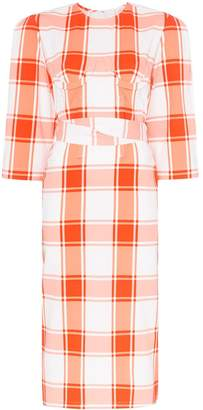 pushBUTTON check-print belted midi dress