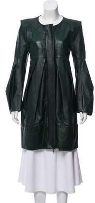 Rue Du Mail Structured Pleated Leather Jacket w/ Tags green Structured Pleated Leather Jacket w/ Tags