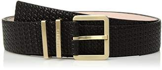 Calvin Klein Women's 35mm Feather Edge Chain-Embossed Leather Belt