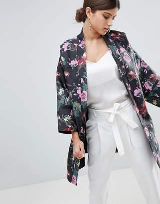 Asos Design Dark Floral Jacquard Kimono Jacket