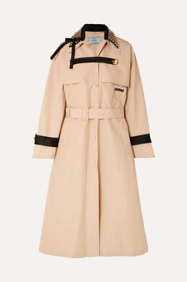 Prada Studded Cotton-blend Twill Trench Coat - Beige