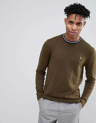 Jack Wills Bilton Stripe Tipped Crew Neck Sweater in Olive