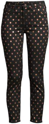7 For All Mankind Jen7 By Metallic Polka Dot Ankle Skinny Jeans