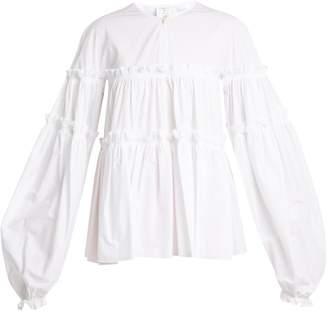 Stella Jean Tiered-ruffle balloon-sleeved cotton-blend blouse