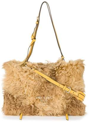Prada Brown flap shearling box bag