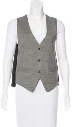 L'Agence Wool-Blend Houndstooth Vest