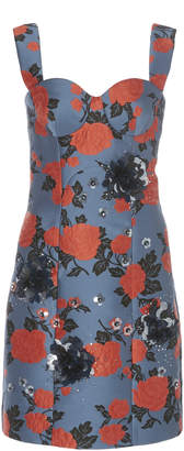 DELPOZO Appliqued Floral-Print Brocade Dress