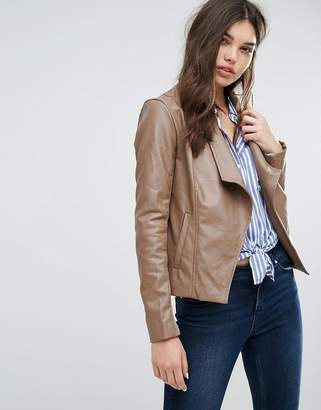 Missguided Brown Waterfall Biker Jacket