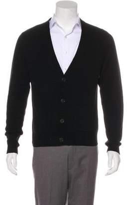 Dries Van Noten Wool Rib Knit Cardigan black Wool Rib Knit Cardigan