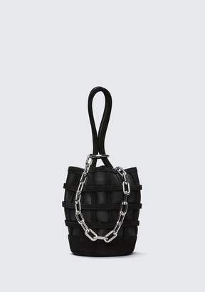 Alexander Wang CAGED ROXY MINI BUCKET IN BLACK WITH RHODIUM Shoulder Bag