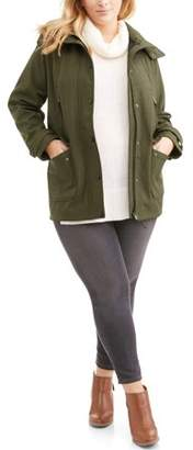 Big Chill Women's Plus Size Yarn Dye Soft Shell Parka W/Ff Trim Hood