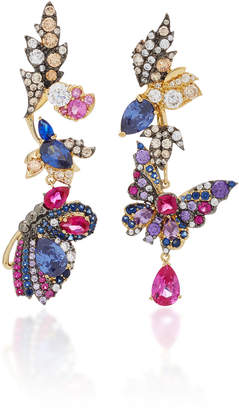 Anabela Chan Midnight Garden Butterfly Earrings With Removable Drop